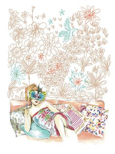 Illustration by Bu Lago Millan of her living room in Issue No. 5.