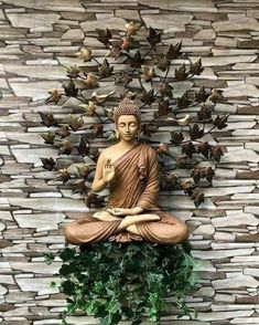 Buddha Statue Home, Buddha Home Decor, Buddha Wall Art, Buddha Statues, Buddha Painting, Pooja Room Door Design, Foyer Design, Entrance Design, Buddha Kunst