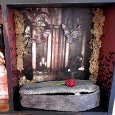 Assemblage - Shadow Box Art - Gothic Fairy Tale - Vampire