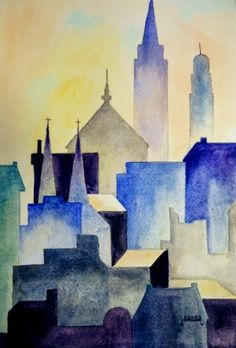 Another class project designed for my intermediate watercolor class at Riverside Art Center. This is loosely based on a number of skylin. Watercolor City, Watercolor Projects, Watercolor Landscape, Watercolor Paintings, Watercolour, Naive Art, Art For Art Sake, Urban Art, Art Lessons