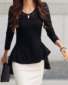Sexy Scoop Neck Long Sleeve Lace Ruffled Blouse For Women Blouses | RoseGal.com Mobile