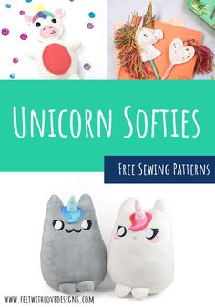 Sew an adorable unicorn softie, a felt unicorn, or another magical unicorn project! Puppet Patterns, Quiet Book Patterns, Animal Sewing Patterns, Felt Patterns, Stuffed Animal Patterns, Sewing Patterns Free, Diy Handmade Toys, Handmade Felt, Easy Sewing Projects