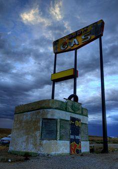 Abandoned gas station near Lyman, Wyoming on Interstate 80.