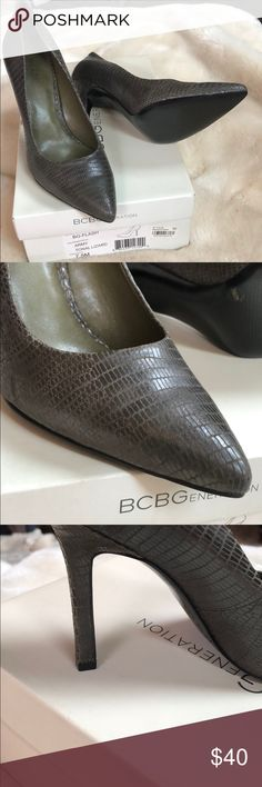 BCBG heels Only wore once!!!! Great condition! Army tonal lizard color. BCBGeneration Shoes Heels