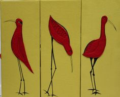 screen printed and felt applique birds