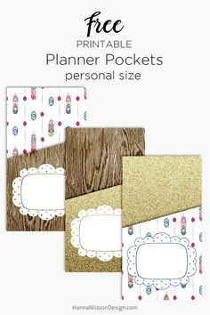 Add storage to you planner with pockets. | Printable planner pockets in A5 and Personal size. | wood texture | gold glitter | feather pattern | mix and match |