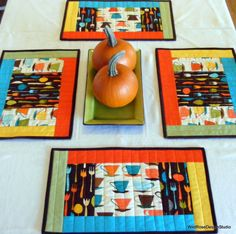 Matching Set of 4 Quilted Placemats Color Block with Fun