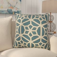 Rosecliff Heights Bonham Geometric Pattern Polyester Throw Pillow Color: Blue / Taupe