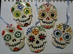 Handmade salt dough day of the dead Christmas tree decorations made using Sarah's brilliant cookie cutters :)