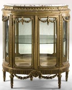 French Louis Xvi Style Marble Top Vitrine Late 19thc Country Furniture Antique