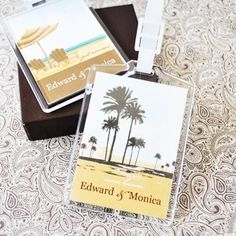 Personalized Wedding Favor Luggage Tags - Elite Designs (Event Blossom EB2151ED)   Buy at Wedding Favors Unlimited (http://www.weddingfavorsunlimited.com/elite_designs_personalized_theme_luggage_tag_favor.html).