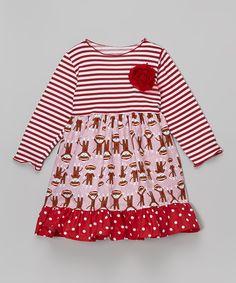 Loving this Pink Sock Monkey Babydoll Dress - Toddler & Girls on #zulily! #zulilyfinds