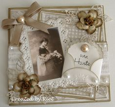 Heritage Scrapbooking, Scrapbooking Layouts, 3d Cards, Cool Cards, Vintage Scrapbook, Scrapbook Cards, Paper Flower Garlands, Shabby Chic Cards, Marianne Design