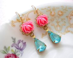 Pink Chandelier Earrings Dangle Flower Earrings by elinacreations, $20.00