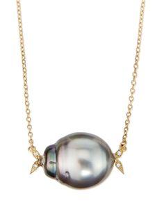 Mizuki 14k Gold Diamond Leaf & Black Tahitian Pearl Necklace
