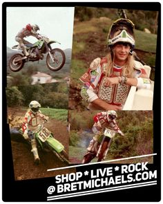 Check out these throwback photos of #BretMichaels tearing up his @SupercrossLIVE track. Have an awesome #SundayFunday! - Team Bret ☠️#RockHardRideHard #GetYourRideOn