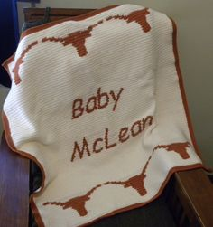 Crochet Pattern For Texas Longhorn Afghan : UT Longhorn Afghan Crocheted by ImmariCreations on Etsy ...