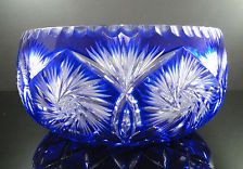 "XL Fabulous Irena Cobalt Blue Lead Cut to Clear Pinwheel Design Crystal Bowl 10"" 15975"