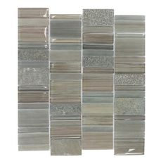 Mulia Tile Watson Random Sized Glass and Stone Mosaic Tile in Taupe and Gray