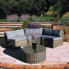 Curved Modular Rattan Garden Furniture Set 4 Piece