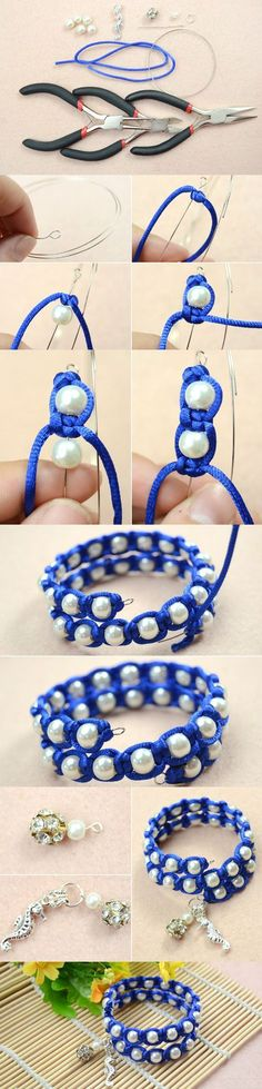 Tutorial on How to Make White Pearl Beaded Macrame Bracelets with Memory Wire and Blue Nylon Thread from LC.Pandahall.com #bijouterie