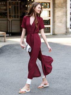 Wine Red V-neck Short-Sleeved Summer Princess Chiffon Maxi Slit Dress with Belt
