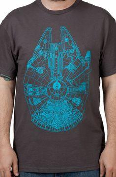 Charcoal Millenium Falcon Shirt: Star Wars Mens T-shirt