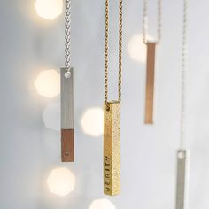Looking to give an extra special gift? This beautiful, personalised bar necklace from the Lisa Angel Jewellery Collection could be just what you need.This necklace can be personalised either with a hand-stamped personalisation or a machine engraved personalisation. Please be aware that for a hand-stamped necklace the character limit is 15 on each side, whereas a machine engraved necklace has a character limit of 22 for each side. Please be aware that the sterling silver necklace option does…
