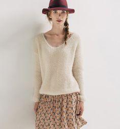 Pull moelleux col V Femme beige - Promod