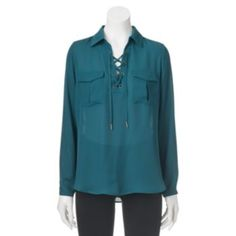 Juniors' Candie's Collared Lace-Up Top