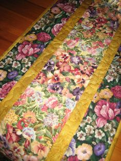 Quilted Table Runner Flower Garden Roses and by TahoeQuilts, $44.00