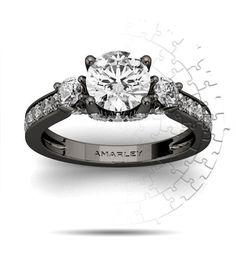 Amarley Black Range - Fancy Black Sterling Silver 1.25 CT. Round Cut White CZ Cubic Zirconia 3 Stone Ring