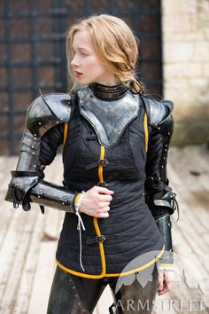 """Gorget and Arms with Pauldrons Blackened Spring Steel Set """"Dark Star"""" Armadura Medieval, Female Armor, Female Knight, Lady Knight, Armor Clothing, Medieval Clothing, Pauldron, Knight Armor, Dark Star"""