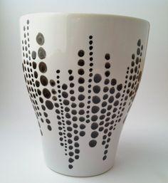 Hand-painted Coffee Mug Black & White by trinako on Etsy Pottery Painting, Dot Painting, Ceramic Painting, Bottle Painting, Bottle Art, Bottle Crafts, Porcelain Ceramics, Ceramic Mugs, Black Christmas Decorations