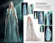 "beautiful concept artwork for Galadriel from WETA's 'Chronicles: Art and Design.'    ""Galadriel's element is water. When given the chance to come up with costume suggestions for her, it seemed appropriate to base my ideas on water, hence the inspiration for her shimmery Waterfall Dress concept, as I call it (far left ).""  - Daniel Falconer, Weta Workshop Designer"