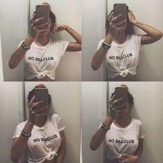 No Bra Club Tshirt, No Bra Clothing - Sexy Sayings Shirt, Womens Graphic Tshirt, No Bra Club Clothes for Friends - Fashion Top Gifts Club Outfits For Women, T Shirts For Women, Clothes For Women, Club Shirts, Going Out Outfits, Friends Fashion, Textiles, Cute Woman, Ladies Dress Design