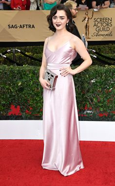 Maisie Williams from 2017 SAG Awards: Red Carpet Arrivals - I would have appreciated a little lighter makeup, but she looks amazing!