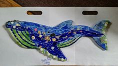 Humpback whale stained glass mosaic. Pre-grout. #PrancyBearStudio