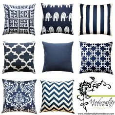 Chevron Cushion Cover Premier Prints Navy Blue and by Modernality2