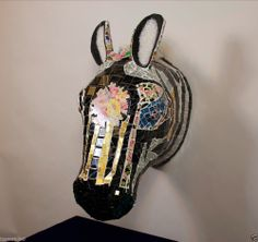 MOSAIC ZEBRA ANIMAL OOAK HAND MADE, Ceramic, Contemporary art, mixed media