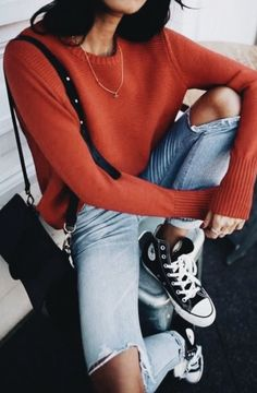 Casual Mondays. Ripped jeans, converses, and a cozy sweater!