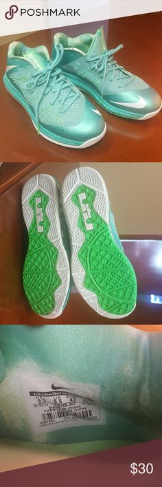 Nikes Teal, lime green and white. Size 9.5 in MENS. Barely ever worn. I think 1 time to the car and back because they were too big for me. Nike Shoes Sneakers