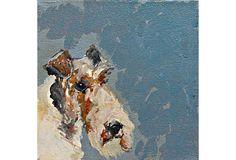 my salon wall of dog art Wire Fox Terrier on OneKingsLane.com