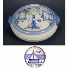 Casserole 2 Qt, Blue Horse Pattern by Hadley Pottery. $57.50