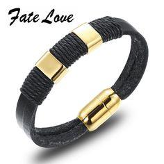 Punk Genuine Leather Bracelet,Wrap Bracelet,Men Bracelet,Wristband Double Rope Chain Handmade with Magnetic Buckle 8 Inch FL939