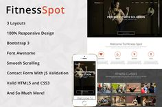 FitnessSpot - One Page HTML Template by Gentil Studio on @creativemarket