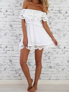 DESCRIPTION Season :Summer Pattern Type :Plain Sleeve Length :Short Sleeve Color :White Dresses Length :Short Style :Casual Material :Cotton Neckline :Off the Shoulder Silhouette :Shift Decoration :La