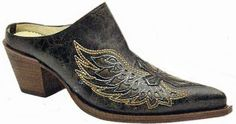 Ladies Mule Black-Gold Wing And Cross F1821