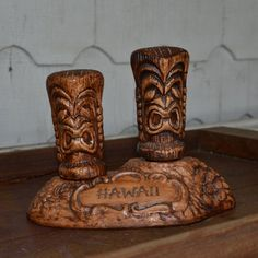 New to ChicMouseVintage on Etsy: Tiki Salt & Pepper Shakers in Stand - Treasure Craft Pottery - Vintage Totem Hawaii (35.00 USD)