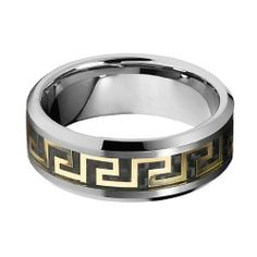 Valentines Day 8mm Carbon Fiber and Gold Tone Greek Key Inlay Men's Cobalt Free Tungsten Carbide COMFORT-FIT Wedding Band Ring (Size 7 to 14) The World Jewelry Center. $26.00. Promptly Packaged with Free Gift Box and Gift Bag. Tungsten has a tendency to break when hit with a hard material. scratch proof